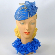Bright Blue Lace Button Fascinator Hat