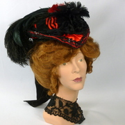 Black & Red Reproduction VictorianTraveling Hat