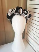 Black and white leather flower crown