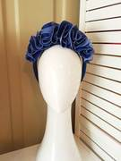 Blue leather flower crown