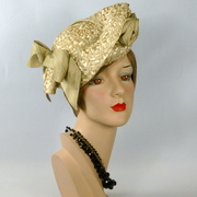 Alabaster Beige Woven Straw Tam Fascinator Hat
