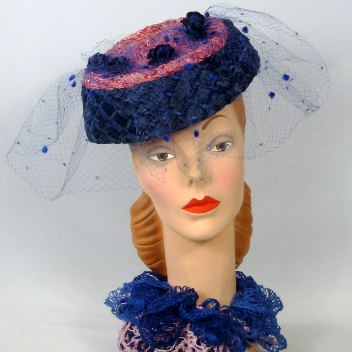 Pink and Blue Strawbraid Fascinator Hat - 1950s style
