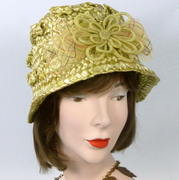 Green Strawbraid Cloche Bucket Style Hat