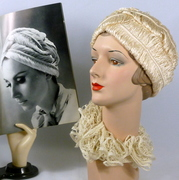 Ivory Feather Straw Turban Style Hat -Reproduction of 1965 Hat