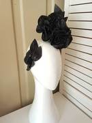 Black leather rose headpiece