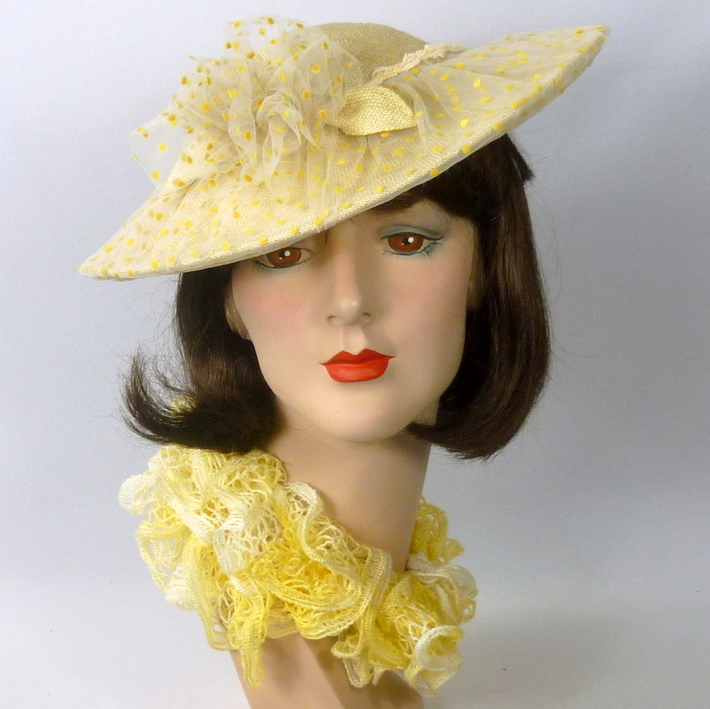 1950s style Yellow Straw Hat