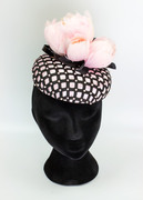 Pink and Black Oval Button with Pearls and Patent Loops