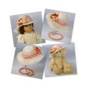 Creamy White and pink Doll or Teddy Bear sun hat