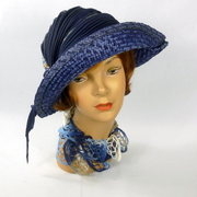 Shades of Blue Hand Dyed Straw Hat