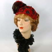 Red and Black Cocktail Hat with Beading