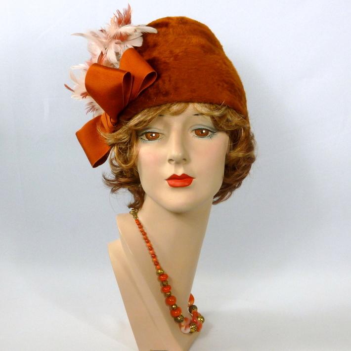 Rust Long Fur Felt Cloche Style Hat