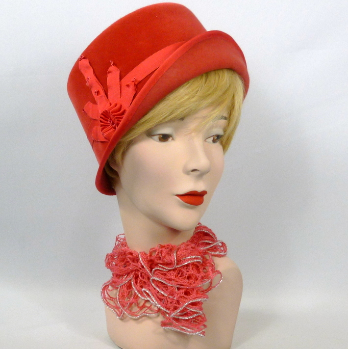Coral Felt Cloche Hat - Vintage French hood - Ribbon Work