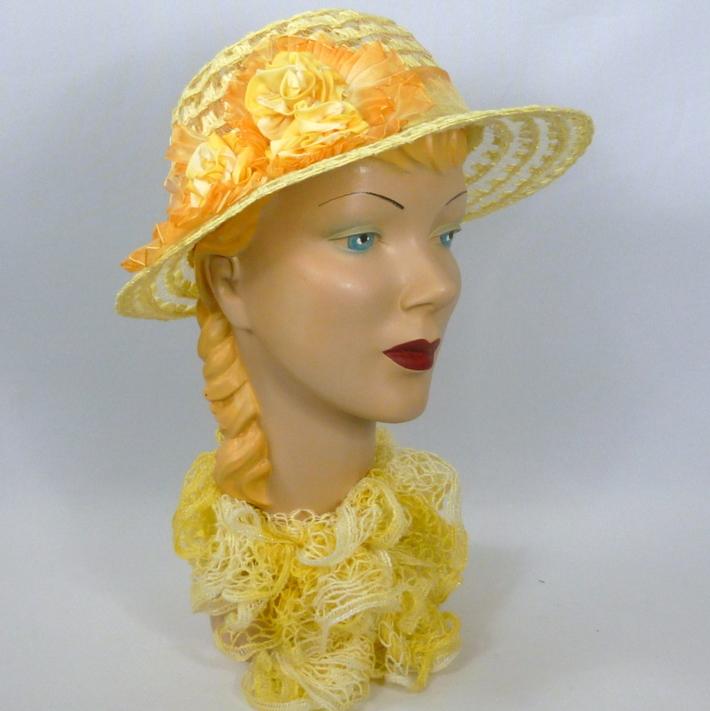 Yellow Straw & Crin Hat - Sun Hat