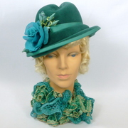 Caribbean Seas Green Velour Felt Hat - Hand Formed Fedora Style