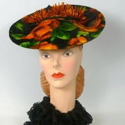 Velvet Black and Burnt Orange Percher Hat