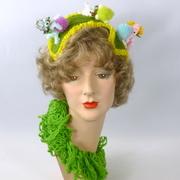Green Straw Fascinator Headband -Playful Puppies Playing Fetch -