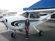 Denise with airplane - first lesson