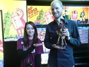 Friend Gemma posing with Will Becher