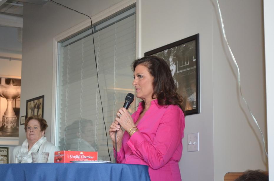J.P. Collier addresses the museum exhibit reception guests