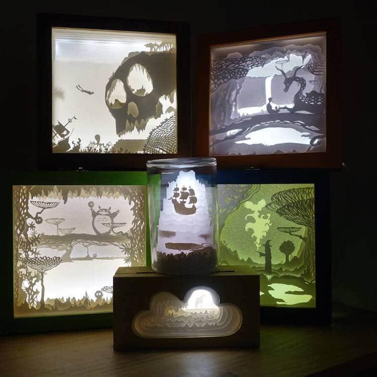 ხელოვნება, ბლოგი, არტი, მანათობელი ყუთები, ლაითბოქსები, ქაღალდის ლამპები, ლამფა, სანათი, qwelly, art, light box