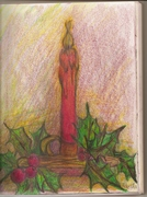 30- Holiday Candle in Color Pencil