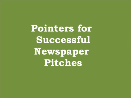 Pointers For Successful Newspaper Pitches