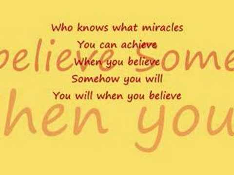 When you believe with lyrics