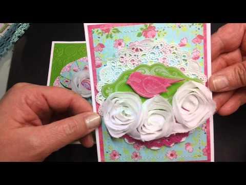 Card set using rose trim & paper flower technique