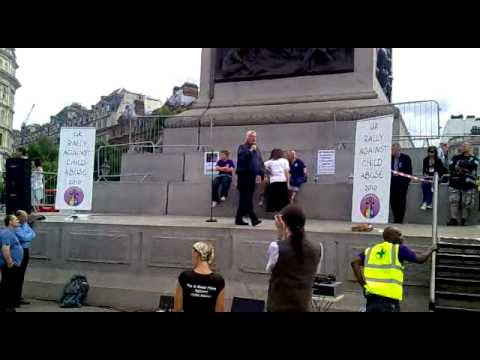 DAVID ICKE speaking at the Rally against Child Abuse at Trafalgar Square, 7th August 2010