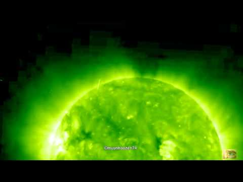 UFO activity in the orbit of the Sun June 22, 2011 (SOHO STEREO Ahead EUVI 195)