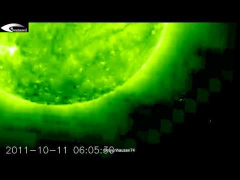 UFO activity in the orbit of the Sun October 11, 2011 (SOHO STEREO Ahead EUVI 195)