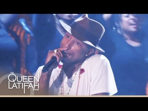 """Pharrell Williams Performs """"Happy"""" on The Queen Latifah Show"""