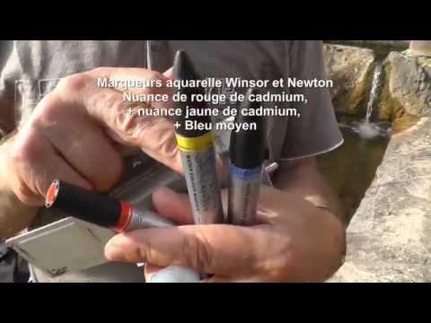 Sticks et marqueurs aquarelle Winsor et Newton : une fontaine en aquarelle rehaussée