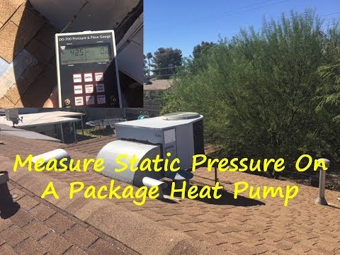 Static pressure measurement on a package heat pump