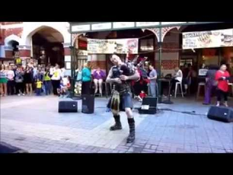 AC/DC THUNDERSTRUCK PLAYED ON BAGPIPES WITH FLAMES