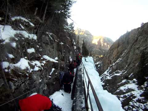 Walking out of schoolroom at Ouray Ice Park