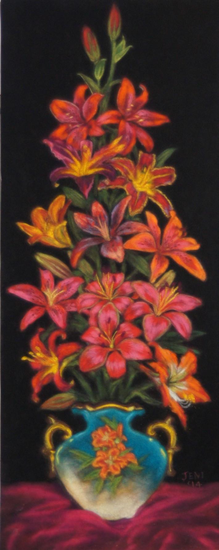 Teri's Lilies, pastels