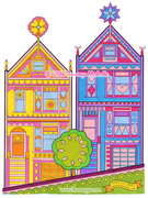 Painted Ladies of San Francisco - Coloring Page Art by Thaneeya McArdle