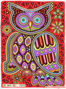 Kuna Mola Owl Coloring Page Art by Thaneeya McArdle