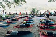 yin yoga by the lake