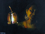 Acrylic Painting - Girl with a Lantern