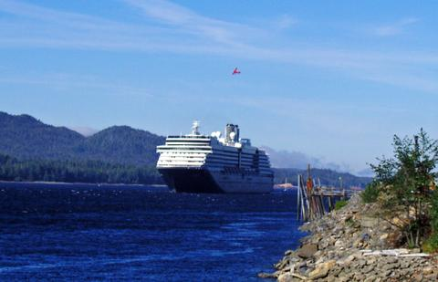 A ship and a plane in Tongass Narrows