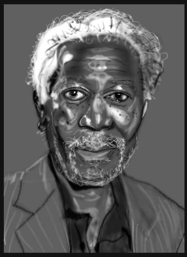 sketching Morgan Freeman