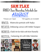 Free Class Thursday August Schedule