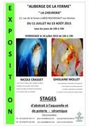 Exposition et stages de peintures et de poterie-céramique Ghislaine Mollet et Nicole Crasset
