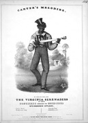 Minstrel banjoist in 1844. 4 melody strings, no thumb string