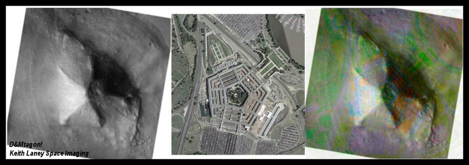 structure on mars and pentagon