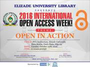 Elizade University 2016 Open Access Week: Open Access and Webometrics Ranking of Universities