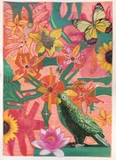 Happy Parot  collage and mixed medium on paper