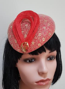 Red & Gold Fascinator